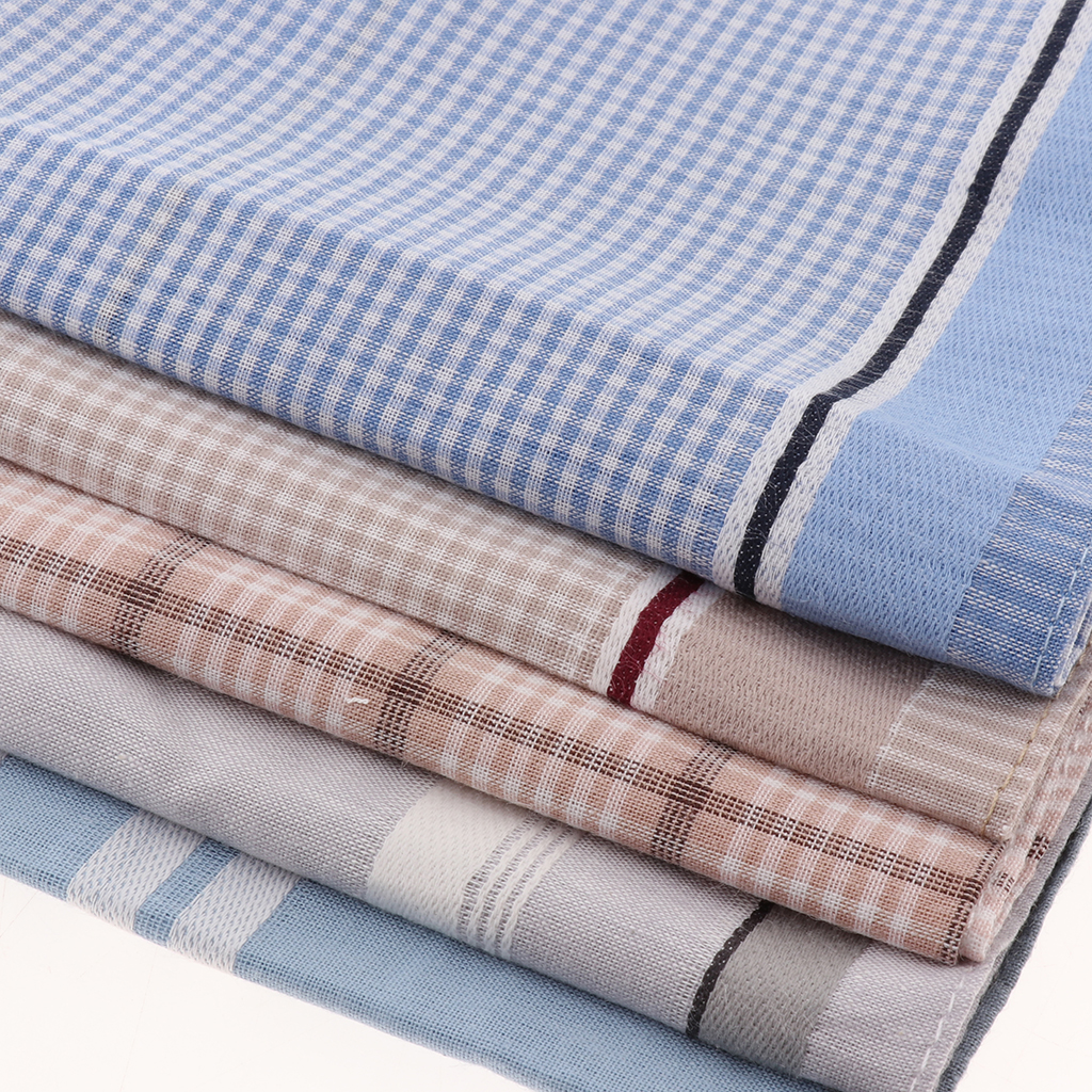 5PCS Mens Pocket Hankies Plaid Square Handkerchief For Wedding Party