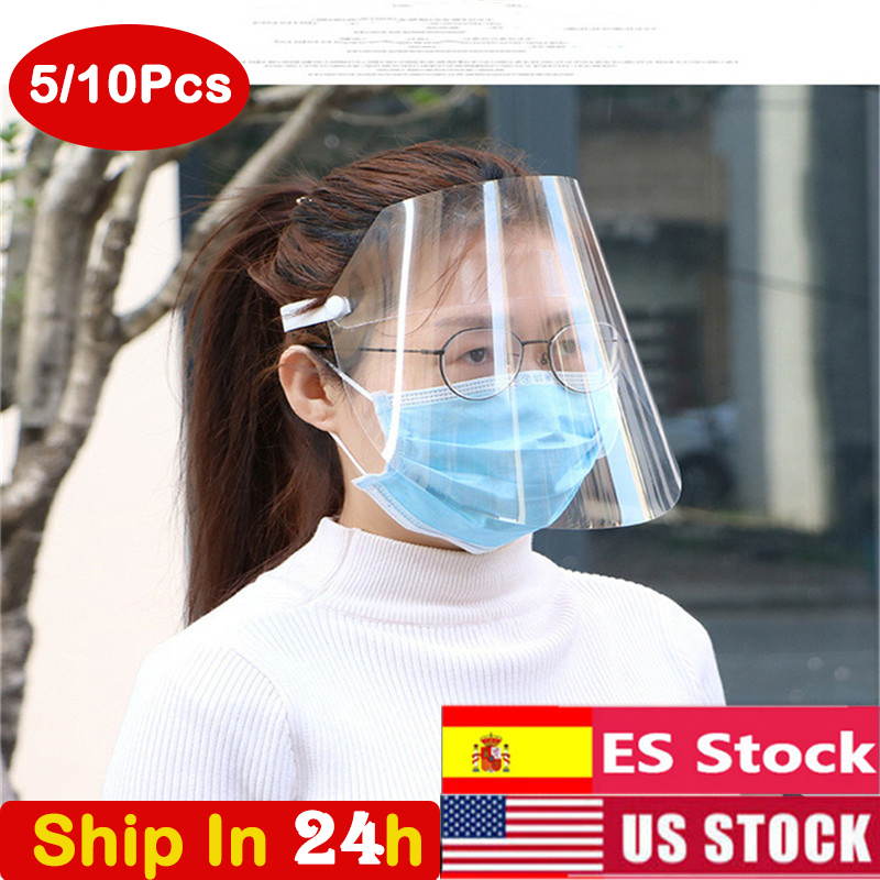 10PC Protective Adjustable Anti Droplet Dust-proof Full Face Cover Mask Visor Shield Droplet Windproof Face Shield Washable