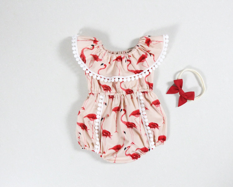 Cute Carton Pink Flamingo Hawaiian Newborn Infant Baby Summer Sleeveless Bodysuit Romper Jumpsuits Playsuit