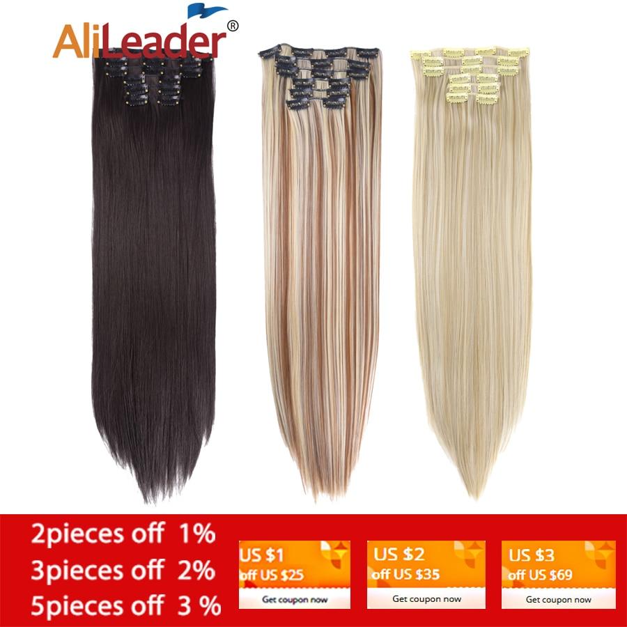 Накладные волосы Alileader, 6 шт./компл., 22 дюйма, 140 г, прямые, 16 клипс, синтетические, термостойкие