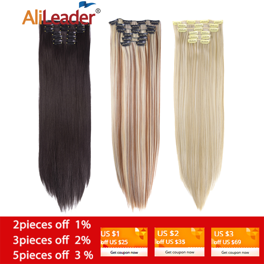 Alileader 22-Hairpiece 16-Clips Heat-Resistant False-Styling Straight Synthetic 6pcs/Set title=