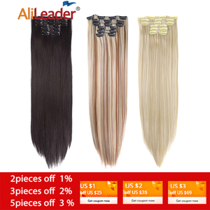 """Alileader 6Pcs/Set 22"""" Hairpiece 140G Straight 16 Clips In False Styling Hair Synthetic Clip In Hair Extensions Heat Resistant(China)"""