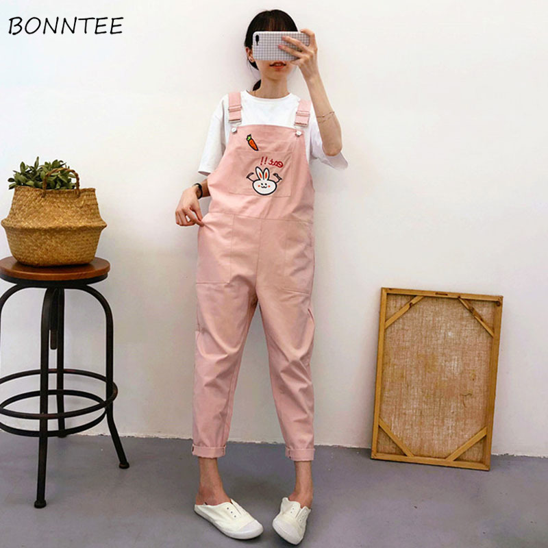 <font><b>Jumpsuits</b></font> Women Strap Trouser Female Summer 2020 Trendy Womens Korean Style Comfortable Cartoon <font><b>Kawaii</b></font> Ankle-Length Casual Chic image