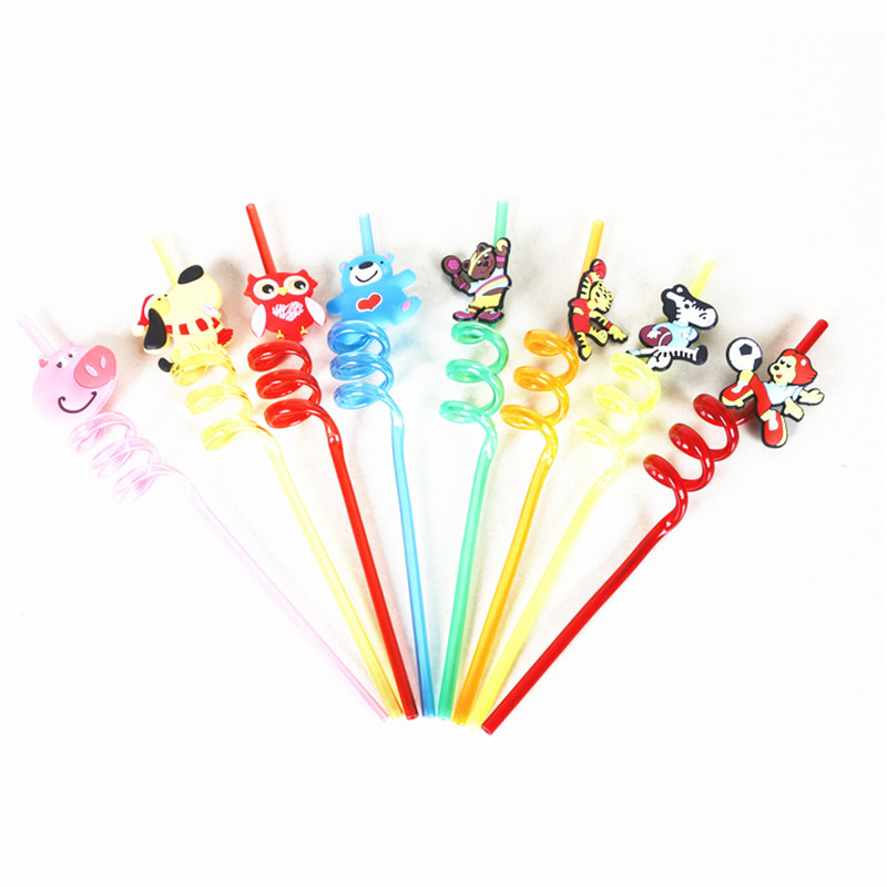 Manufacturers Direct Selling Modeling Straw Christmas Straw Cartoon Animal Straw Pet Spiral Straw