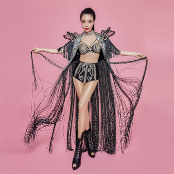 Tassel Stage Costumes For Singers Dj Colored Rhinestones adult stage costume Stage Outfit Singer Sexy DS DJ Performance Costume newest christmas costume santa claus costume suit adult couple performance costume set outfit