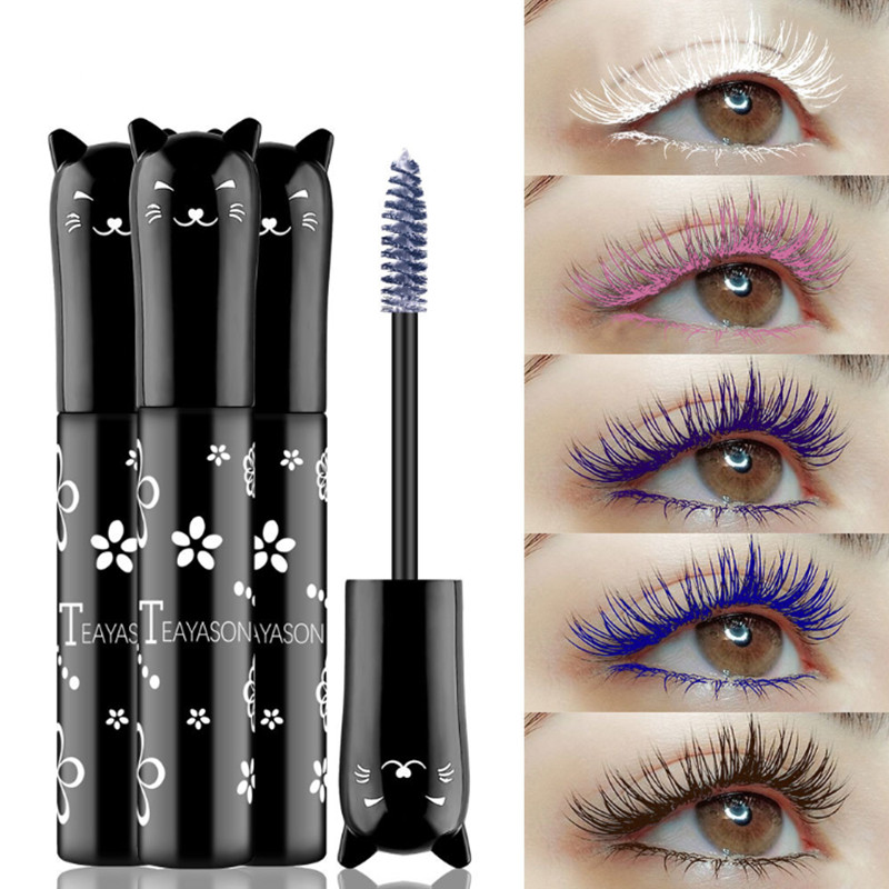 4 Color Mascara Waterproof Fast Dry Eyelashes Curls Extension Makeup Eyelashes Blue Pink Purple White Ink Mascara