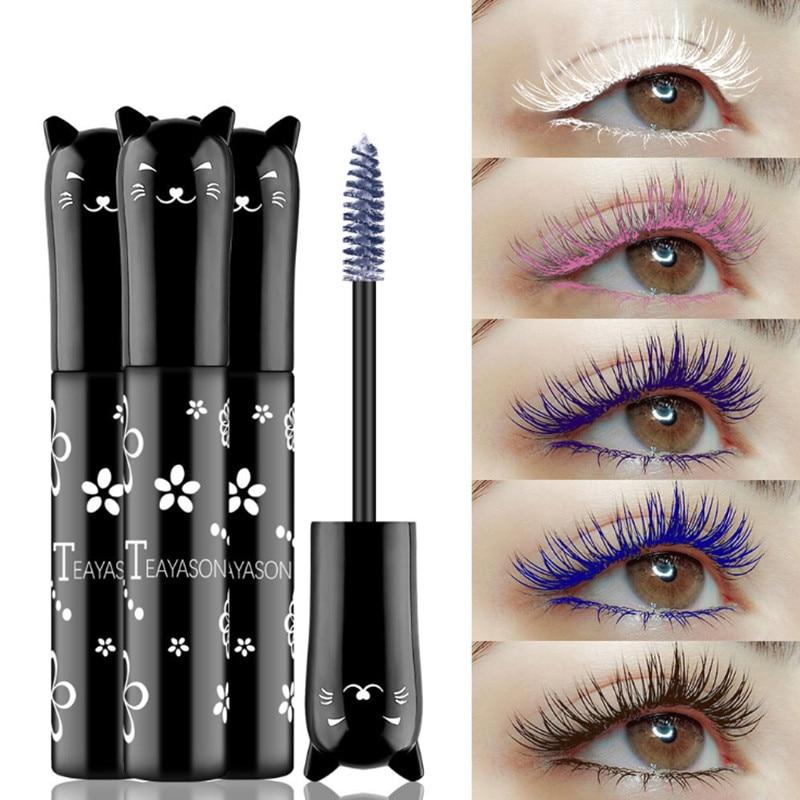 4 Color Mascara Waterproof Fast Dry Eyelashes Curls Extension Makeup Eyelashes Blue Pink Purple White Ink Mascara