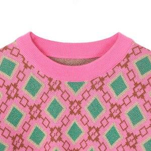 Image 5 - ヴィンテージ甘い多色糸ニットセーター女性 2020 新ファッション o ネック長袖女性プルオーバーカジュアルプルファム C 226