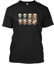 Black White Patriot Liberal Skulls - Man Woman Rich Tee T-Shirt(China)