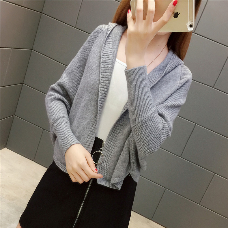 2019 Free send New style Korean loose and comfortable Autumn women Cardigan Sleeve of bat Hooded Sweater coat 128
