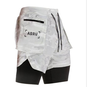 2 in 1 Men Double-deck Sports Running Shorts Active Training Exercise Jogging Shorts With Longer Liner Breathable(China)