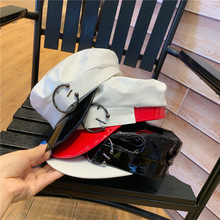 Europe Faux Leather Visors Women Round Buckle Vintage Hats Flat Top Sailor Navy Hat Fashion Street Caps White Red Black 56-58 cm