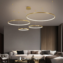 TRAZOS Modern led Gold pendent lights circle lights for Interior design engineering lighting Line hang LED ring pendent lamp cheap Painted Parlor Study Master Bedroom other bedrooms Hotel Hall Hotel Room Cord Pendant Pendant Lights 3 years Aluminum 15-30square meters