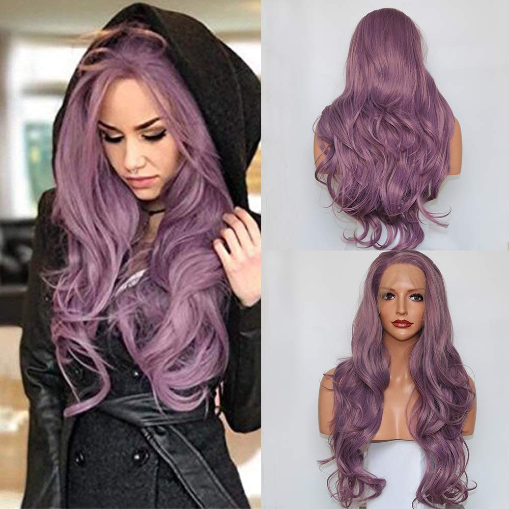 Fantasy Beauty Side Part Pink Mint Purple Lace Front Wig Long Wavy Synthetic Fiber Glueless Wave Wig Hair Replacement Wigs