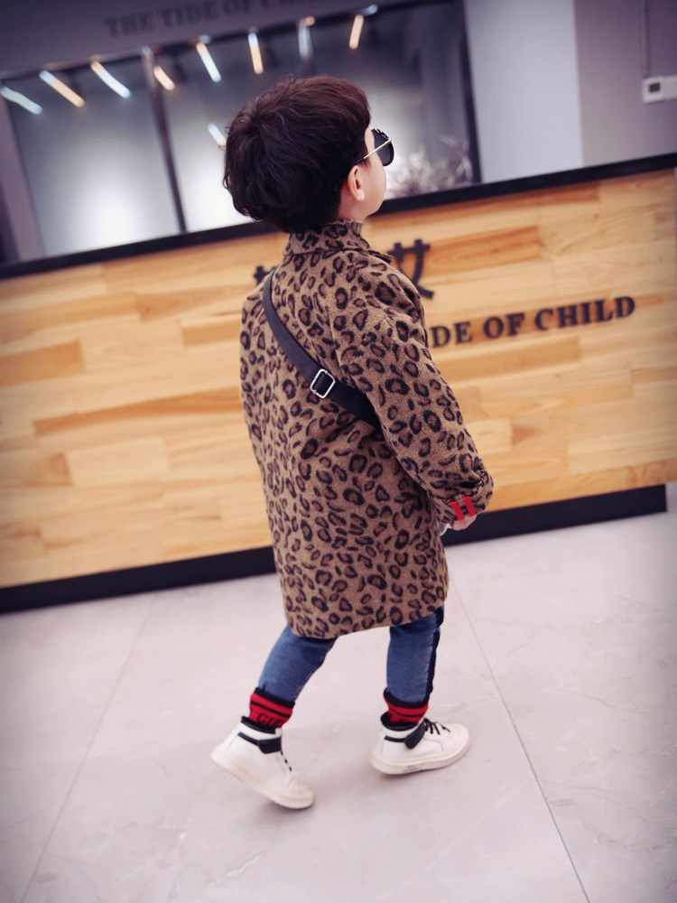 Kids Coat 2021 Autumn Baby Girls Long Sleeve Leopard Fur Windproof Infant Boys Clothes Girl Warm Pocket Fashion Outwear Jacket 6