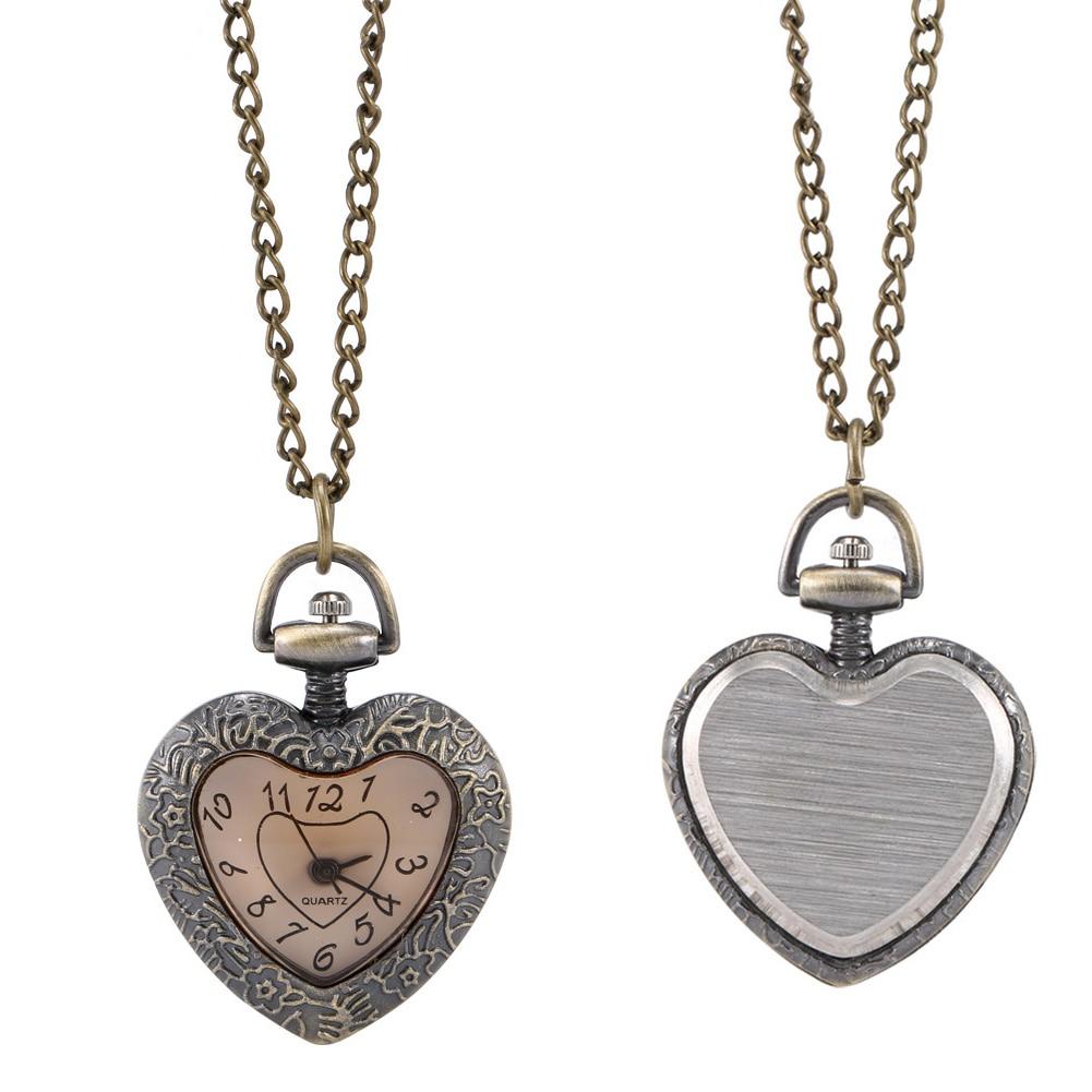 Fashion Vintage Retro Quartz Pocket Watch Love Heart Shape Glass Pendant Sweater Chain Clock Necklace Gifts UND Sale
