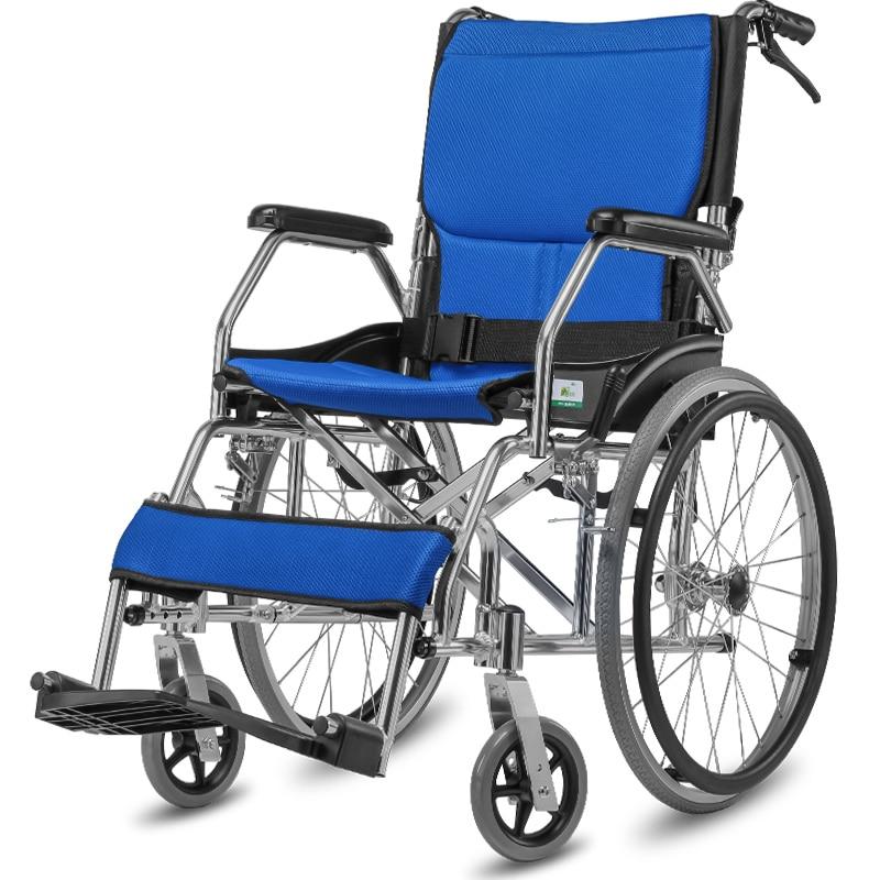 Aluminum Alloy Portable Wheelchair Folding Portable Elderly Travel Wheelchair Driver Pushing Elderly Disabled