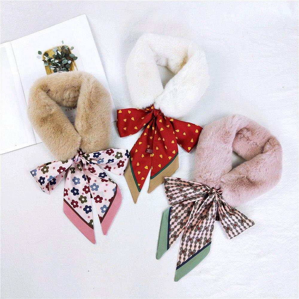 2019 New Fall Winter Elegant White Black Faux Rabbit Fur Collar Scarf Neck Women Heart Polka Dot Foral Animal Printed Scarves