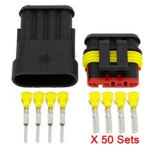 50 комплектов, 4 контактный разъем AMP 1,5, водонепроницаемый электрический соединитель, разъем ксеноновой лампы, автомобильный соединитель