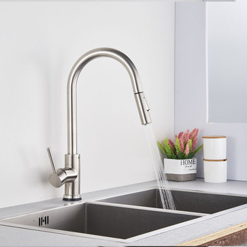 Brushed Kitchen Faucets Pull Out Single Handle Kitchen Sink Faucet Brass Water Tap Mixer Two Water Outlet Kitchen Mixer Tap gappo kitchen faucets pull out kitchen single handle rotatable sink faucets water mixer water sink mixer tap robinet cuisine