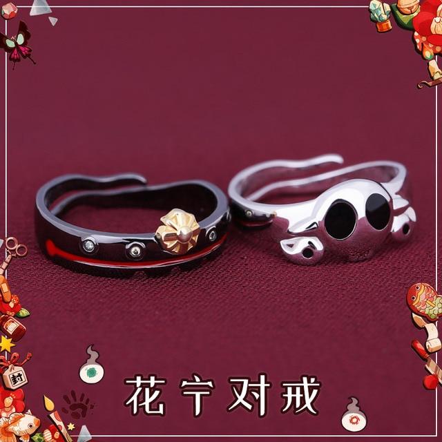 Anime Toilet Bound Jibaku Shounen Hanako kun Nene Cosplay S925 Sterling Silver Finger Ring Men Women's Adjustable Jewelry Gift