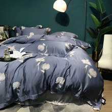 Juego de cama de flores azules a la moda para adolescentes adultos, tamaño queen king vintage, elegante, doble Hogar, textil, Sábana, funda de almohada, funda de edredón
