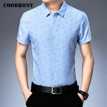 COODRONY Men Shirt Fashion Pattern Cotton Camisa Masculina Spring Summer Short Sleeve Business Casual Shirts Mens Clothes C6017S coodrony men shirt spring summer short sleeve casual shirts cotton fashion plaid camisa masculina with pocket mens dress c6008s