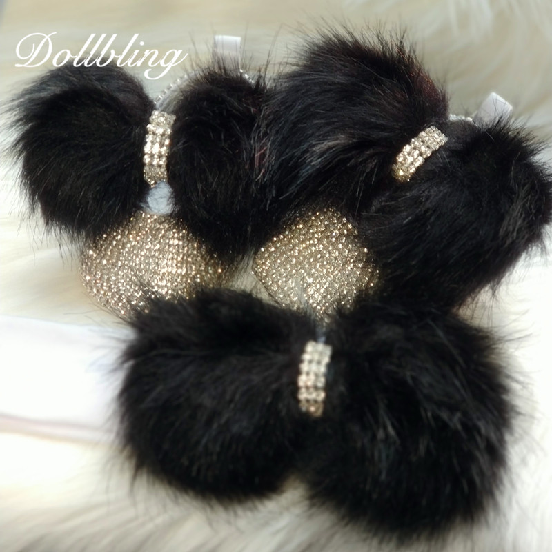 Black Hair Beautiful Fur Winter Baby Girl Bling Briades Nursery Room Designer Embellished Rhinestones Handmade Crib Shoes