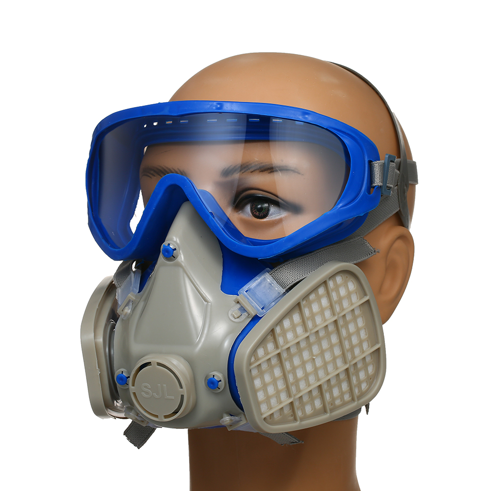 Silicone Full Face Gas Mask Respirator Anti-particulate Anti-dust Mask Paint Chemical Pesticide Mask With Goggles