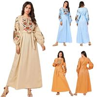Abaya Embroidery Puff Sleeve Maxi Dress Islamic Arab Vintage Kaftan Women Muslim Autumn Dress Long Sleeve 2019 Fashion Dubai New