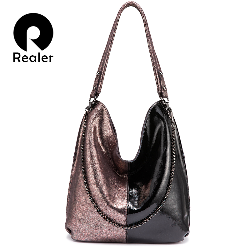 REALER Women Shoulder Bag Genuine Leather Hobo Bag For Ladies 2019 Patchwork Totes Female Luxury Handbags Women Bags Designer
