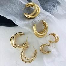 AENSOA-pendientes de aro de Metal minimalistas para mujer, aretes de Triple aro abierto en forma de C, accesorios llamativos, 2020