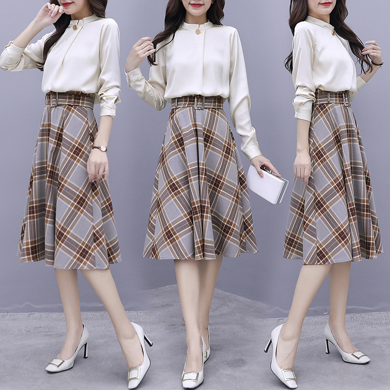 2019 Autumn Clothing New Style Elegant Apricot Long-sleeved Shirt + Retro Versatile Slim Fit Plaid Skirt Two-Piece Set