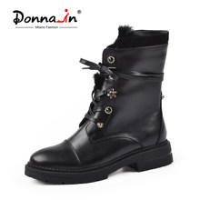 Donna-in Winter Mid Calf Boots Women Genuine Leather With Fur Med Heel Warm Short Plush Snow boots Fashion Lace Up Women shoes(China)