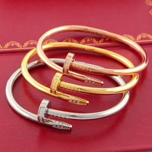 316L Titanium Steel nail love Bangles Silver Gold Rose Gold carter Bracelet Bangle crystals wedding couple with original box(China)
