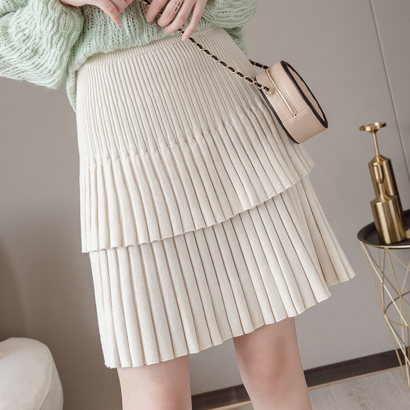 2019 New Autumn Winter Short Knitted Skirt Women High Waist Double Layer Pleated Mini Skirts Female Hip Package Faldas Mujer