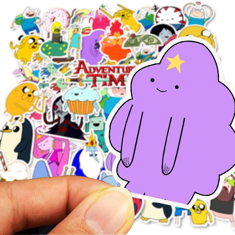 50pcs Cartoon Adventure Time Waterproof Girl Stickers Skateboard Suitcase Guitar Graffiti DIY Sticker Children Classic Toy