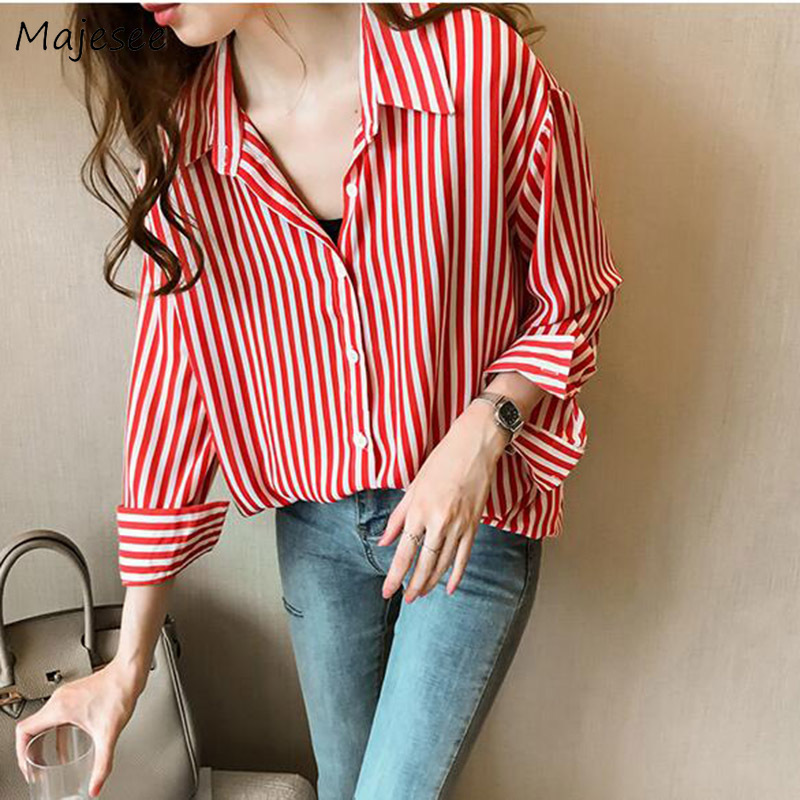 Shirts Women Striped Elegant Large Size 4XL Loose All-match Office Lady Casual Daily Womens Shirt Korean Style Sweet Females New