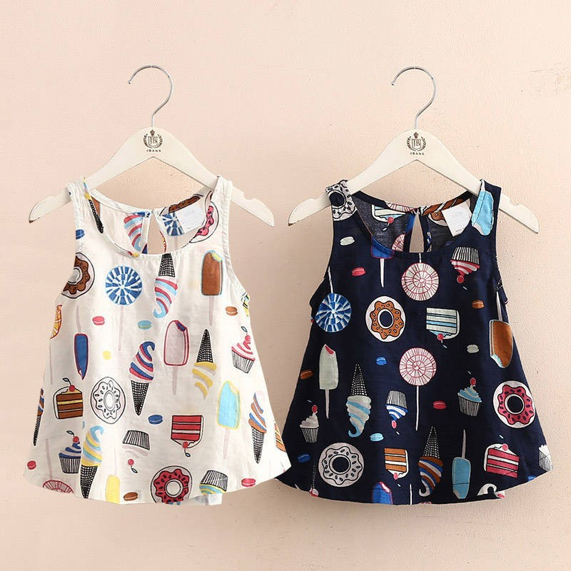 2019 New Korean female baby princess dress fashion donut new summer girls comfortable cotton and linen print dress