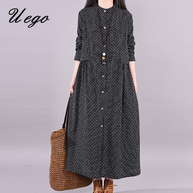 Uego Stand Collar Fashion Blouse Dress Linen Cotton Plaid Long Sleeve Autumn Dress Plus Size Women Spring Casual Midi Dress