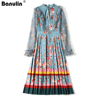 Fashion Autumn Runway Midi Dress Women Long Sleeve Lace Patchwork Gorgeous Floral Print Vintage Female Pleated Dress 2020 banulin summer runway designer bow neck pleated dress women lace patchwork floral print elegant holiday midi dress vestidos