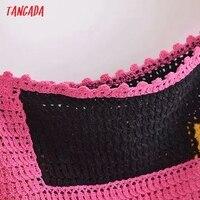 Tangada Women's Summer Dress Fashion Patchwork Crochet Dresses Ruffles Female Casual Beach Dress 3H771 3