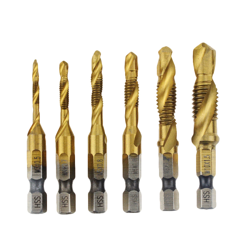 1PCS M3 M4 M5 M6 M8 M10 Hand Tap Drill Bits HSS 4341 Screw Spiral Point Thread  Metalworking Hex Shank Machine Taps Kit Metric P