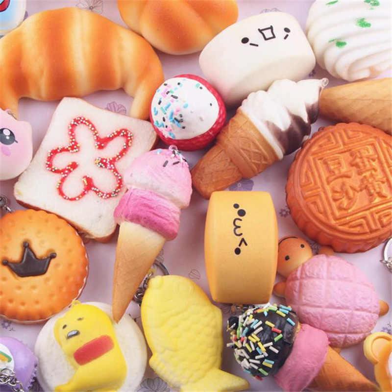 Kawaii Licin Mainan Anak Lambat Rising Antistrss Mainan 5 Pcs Medium Mini Lembut Roti Mainan Kunci Squishies Menghilangkan Stres Poopsie