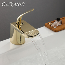 OUYASHI new design bathroom basin faucet single holder hole deck mounted water tap waterfall