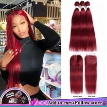 99j/borgonha feixes de cabelo humano com fechamento 4x4 cor vermelha brasileiro feixes de tecer cabelo reto com fechamento não remy cabelo kemy