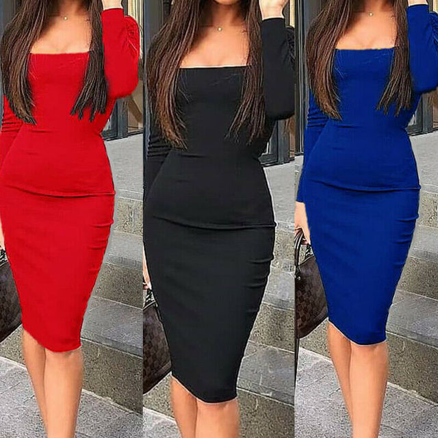 Elegant Dress Women Long Sleeve Bodycon Dress Ladies Autumn Casual Dress Party Dress Xmas Warm Cotton Winter Dress hot 3