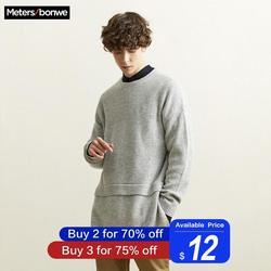 Metersbonwe новый длинный свитер для мужчин 2019 модный длинный рукав вязаный мужской Красивый хлопковый свитер для отдыха Одежда высокого качест...