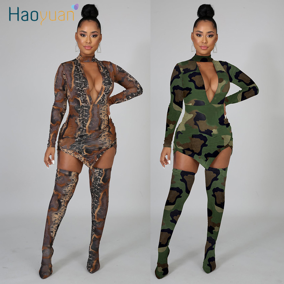 HAOYUAN Camo Snake Print Two Piece Set Women Festival Clothing Mini Dress And Long Stocking Birthday Matching Sexy Club Outfits