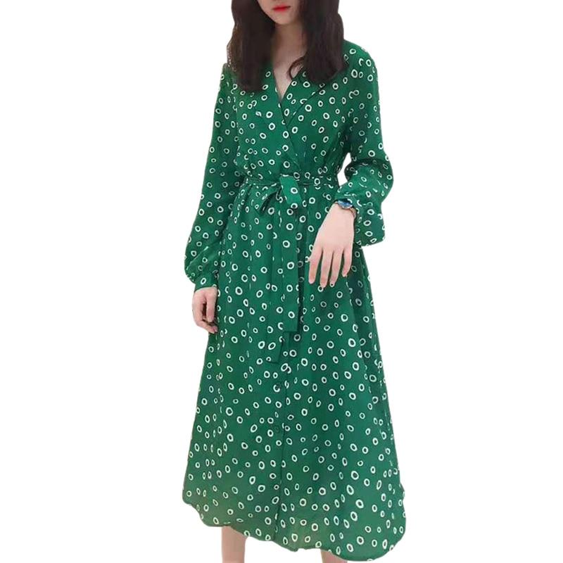 여성 의류 캐주얼 레이디 착용 랩 v 넥 셀프 타이 벨트 중간 길이 긴 소매 버블 프린트 화이트/그린 실크 홀리데이 드레스-에서드레스부터 여성 의류 의  그룹 1